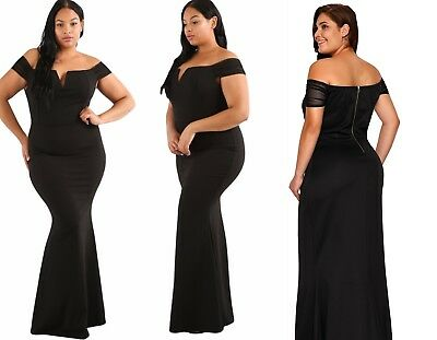 Womens Off The Shoulder Bardot Ladies Evening Gown Party Dress Plus