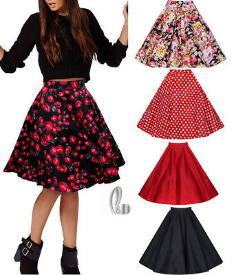 AU STOCK WOMENS 40s 50s VINTAGE RETRO PIN UP ROCKABILLY SWING MIDI SKIRT DR102