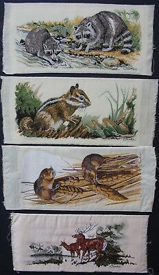 Set of 4 J & J Cash Woven Silk Rayon Pictures: Racoon, Mouse, Squirrel & Deer