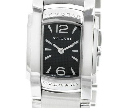 1d555d70827 Pre-Owned BVLGARI Ashoma All SS Black Dial Women s Quartz Wristwatch AA35S