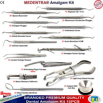 Dental Amalgam Composite Filling Instruments Kit Restorative Carvers Plugger X15