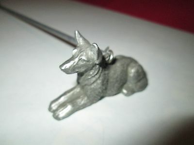 Pewter Figural Candle Snuffer german shepard w Dog Bone Handle, Signed S & A