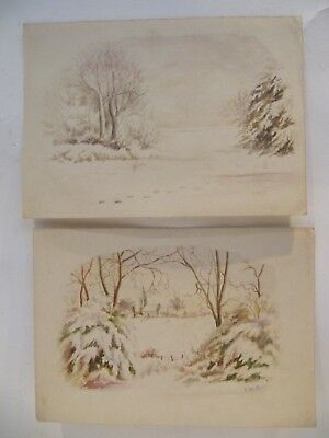 EARLY 20th CENTURY, Two Watercolours, WINTER SCENES - AT HEADLEY, SURREY