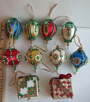 LOT OF 10 VINTAGE SEQUINS BEADS METAL FINIALS 1960's CHRISTMAS ORNAMENTS  ROUND