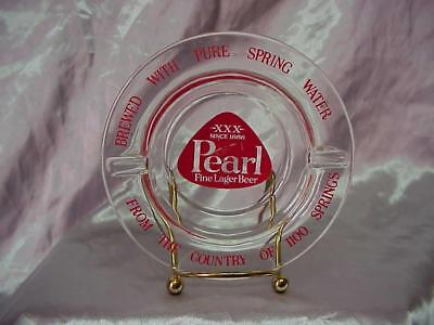 Vintage Pearl Lager Beer Glass Ashtray Clear