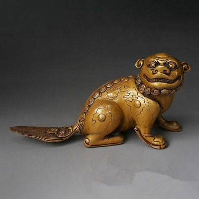 Antique china brass hand made fengshui lucky lion statue