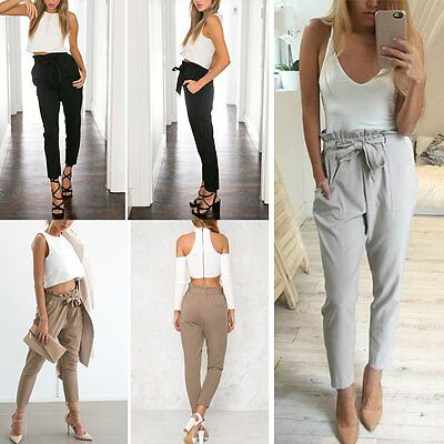 Womens Casual Chffion Harem Pants Ladies Elastic High Waist Tie OL Trousers 6-12