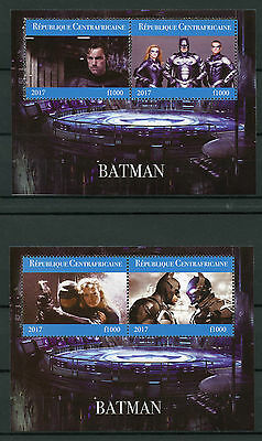 Central African Rep 2017 MNH Batman 2x 2v M/S Superheroes Stamps