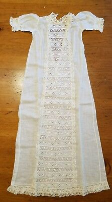 Antique Child's Christening Gown Dress Fine Embroidered Victorian Lace