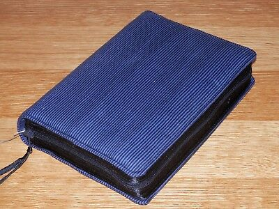 New World Translation 2013 Zipped Fabric Bible Cover - Black & Blue Stripes