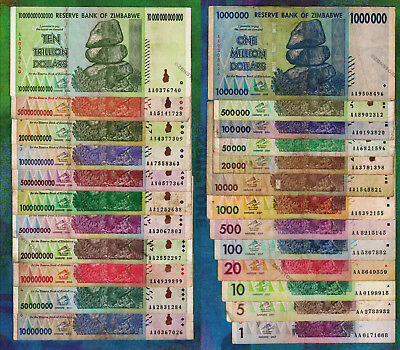 1 to 10 Trillion Dollars Set of 24 Different Banknotes w/ 50 Billion 100 Million