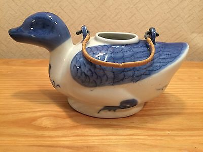 Duck Teapot Blue White Bamboo Handle 3.5 tall x 8.5 wide AS IS Vintage