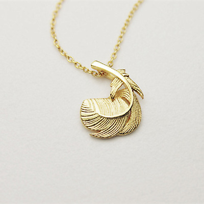 Beautiful Solid 925 Sterling Silver Thick Puffy Feather Angel Wing Leaf Necklace