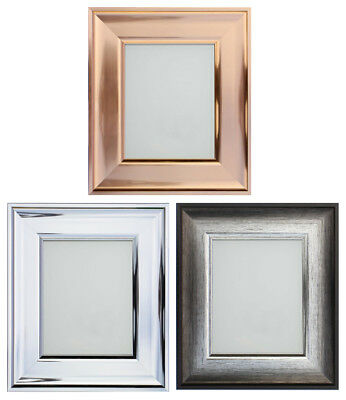 Frame Company Shiny Rose Gold, Silver or Chrome Picture Frame or Mirror