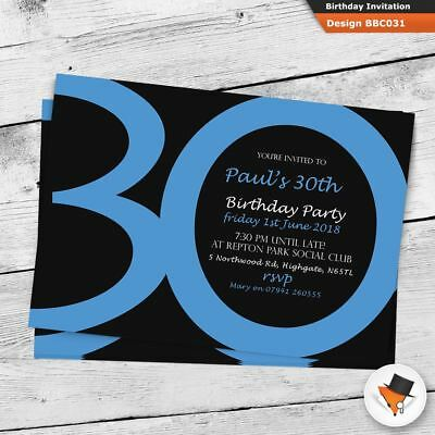 Personalised classic blue birthday party invitations invites 21st 30th 40th