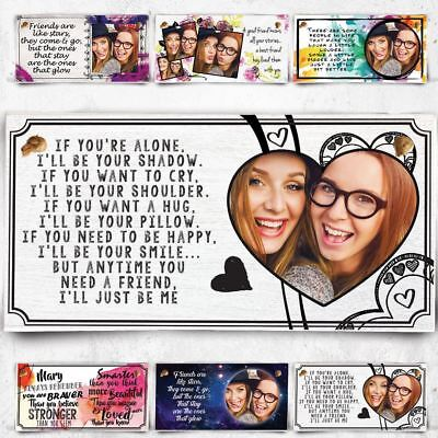 Personalised Photo Plaque For Best Friend Christmas Gift Bestie BFF Wooden