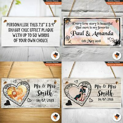 Personalised wooden plaque fully customised sign 200mm 100mm shabby shic gift