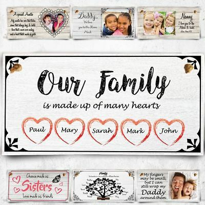 Personalised Plaque Our Family Gift Birthday Christmas Mum Dad Nan Aunty Sign
