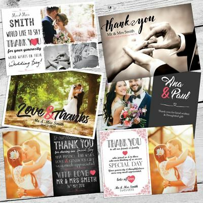 Premium Personalised Wedding Thank You Cards Includes Envelopes + Photos 40,50
