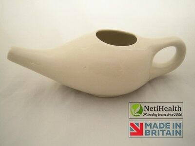 Ceramic Neti Pot + 100g Organic Neti Salt. Nasal Irrigation Health ~ UK DELIVERY