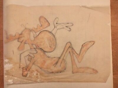 ROCKY and BULLWINKLE: Orig Color Prelim Production Drawing (Al Kilgore, 1960s)