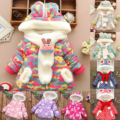Kids Girls Toddler Padded Coat Hooded Fleece Winter Warm Jacket Snowsuit Parkas