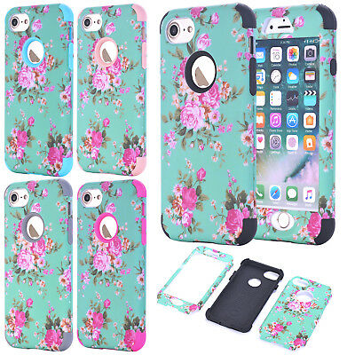 For iPhone 6s 7 Plus X Floral Heavy Duty Hybrid Armor Shockproof Hard Case Cover