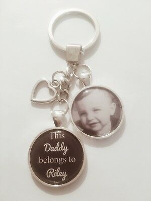 Personalised Photo Keyring - This Daddy Belongs To - Gift Present Birthday