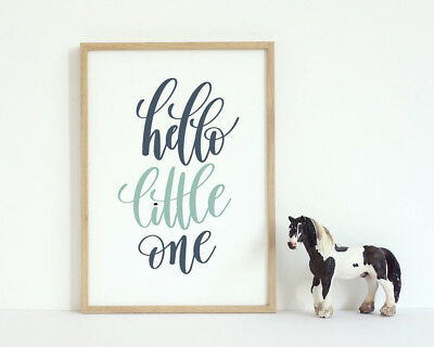 Hello Little One Picture Blue & Teal Kids Play Room Baby Nursery Wall Art Print
