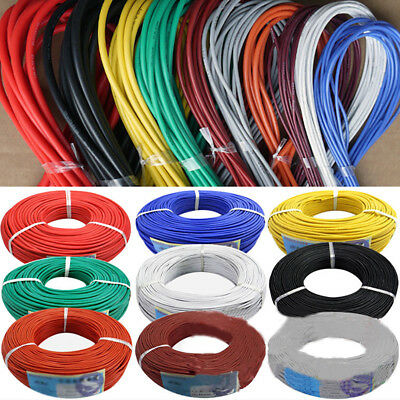 5m/16.40ft 30/28/26/24/22/20 AWG Stranded Silicone Electric Wire Cable Flowery
