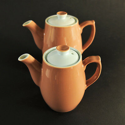 Two Vintage Denby Langley 'lucerne' Coffee Pots - Six & Seven Inches