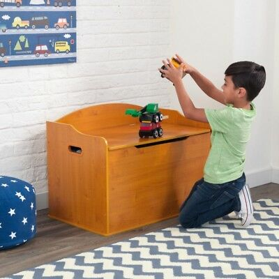 Kidkraft 14954 Kids Austin Toy Chest Box Storage Bench Honey NEW