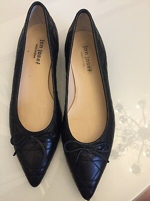 jon josef flat 9.5 M Black leather pointed shoe No box EXCELLENT