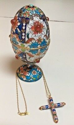 Chinese enamel cloisonne egg+stand w/sterling silver cross pendant a la Faberge