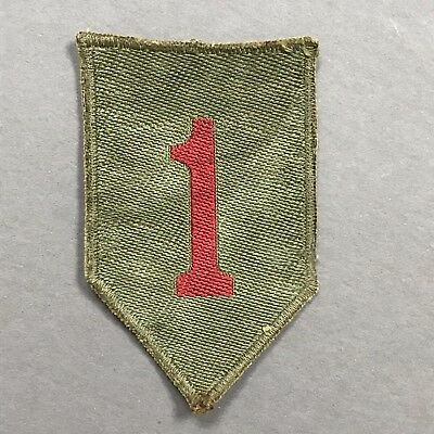WWII WW2 German Made Bevo Khaki Back US Army 1st Infantry Division Patch