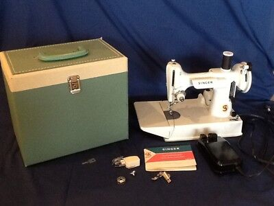 Vintage Singer Featherweight 221 K White Portable Electric Sewing Machine w Case