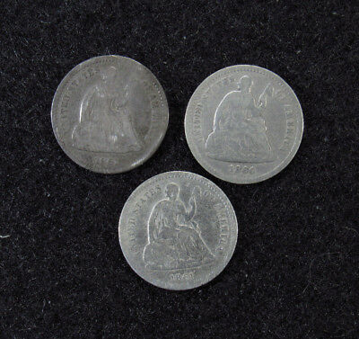2- 1861, 1860 Seated Half Dimes