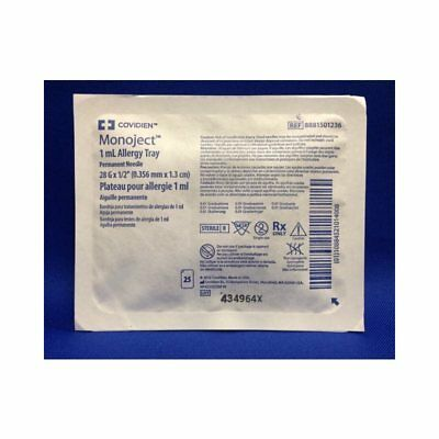 Monoject Allergy Tray 1 mL 28 Gauge .5'' Attached Needle w/o Safety - 25/Tray