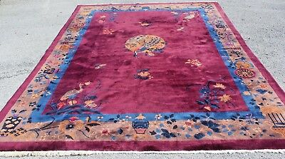 "Antique Chinese Art Deco Purple Rug W/ Peacock Design 11'9"" X 9'"