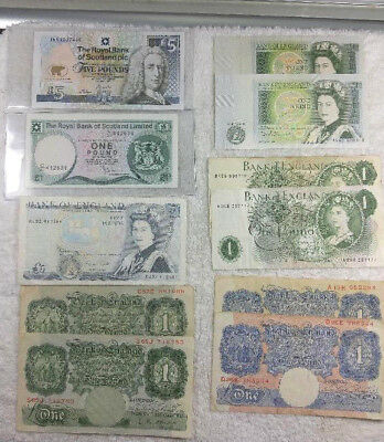 England and Scotland paper currency - 19 pounds total face  - free shipping