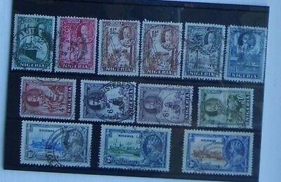 Nigeria George V 13 stamps used on stock card.