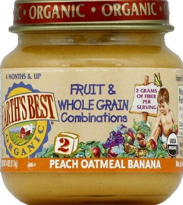 Earth's Best Organic Baby Food Stage 2 Peach Oatmeal & Banana - 4 oz