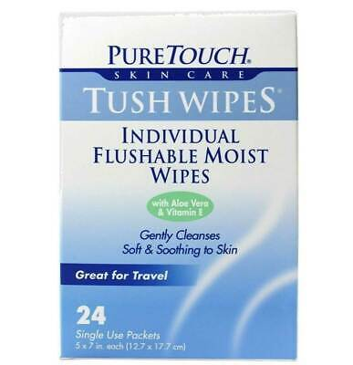 Pure Touch Skin Care Flushable Individual Tush Wipes - 24 Ct - Pack of 1