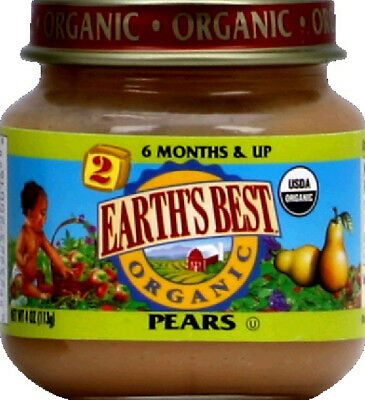 Earth's Best Pear Puree Og 4 Oz