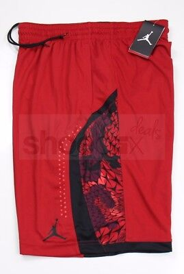 6fd0ef7fcd5e Nike Mens Air Jordan Flight Printed Red Black Retro Basketball Shorts  688529 687