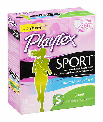 Playtex Sport Tampon Unscented Super 18 Ct