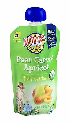 Earths Best Baby Food Pear, Carrot & Apricot 4.2 OZ