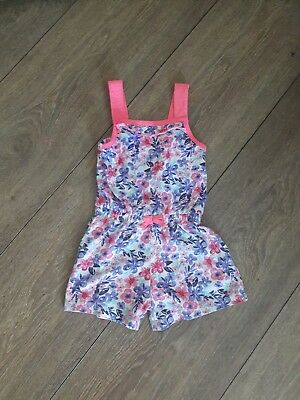 (George) Girls Pink Foral Playsuit Age 3-4 Years