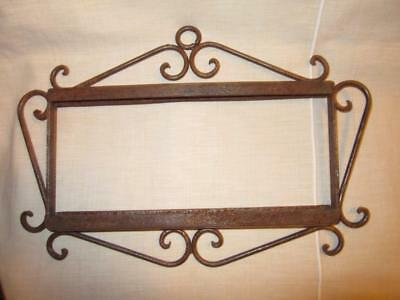 """Antique Hand WROUGHT IRON FRAME Tile Wood Address Name Picture 10"""" x 5"""""""
