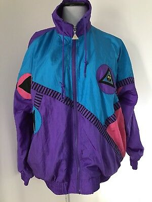 Vtg Casual Isle Nylon Geometric Windbreaker Jacket Lined Size M